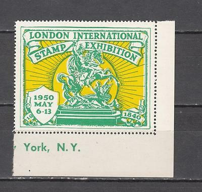 1950 London International Stamp Exhibition Perf Poster Stamp Unmounted Mint Full