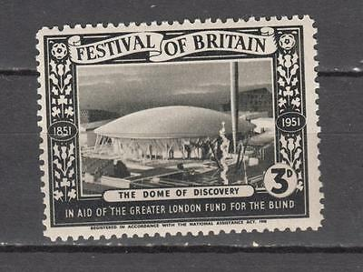 1951 Festival Of Britain 3d Poster Stamp The Dome Of Discovery Unmounted Mint Fu