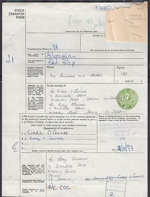 Ireland Stock Transfer Document With £1 Embossed Fiscal/Revenue In Green Dated