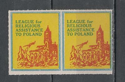 Pair League For Religious Assistance To Poland Poster Unmounted Mint Full Gum (