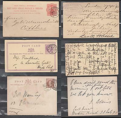 Queen Victoria Post Cards Three In Total 1d Red + 1/2d Purple + 1/2d Brown Dated