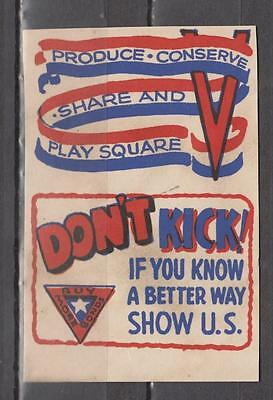 WW2 US Propaganda Poster Stamps Imperf Pair Produce Conserve Share And Play Squa