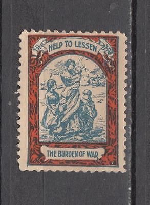 WW1 Help To Lessen The Burden Of War Poster Stamp Unmounted Mint No Gum ( For Co