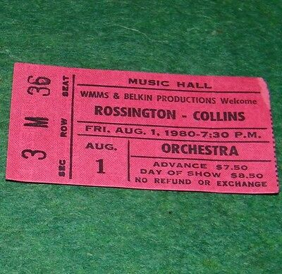 southern rock ROSSINGTON - COLLINS band concert ticket from 1980  Lynyrd Skynyrd