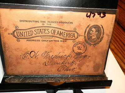#4743,Very Rare Wallet Mailed w Imprinted Postal Never Seen Many Years,1908