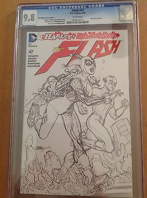 CGC 9.8 Flash #47 Dodson Poly-bagged Sketch Variant Cover Harley Quinn
