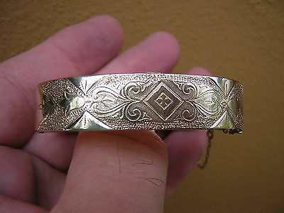 Antique Vintage Gold Filled Suberbly Engraved Bangle Bracelet W Safety Chain