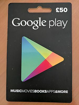 Google Play Store Gift Card £50 Fifty Pounds