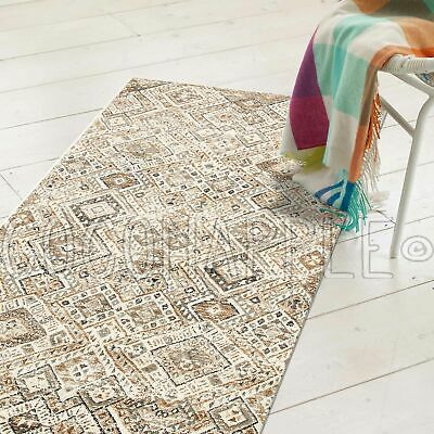 WYATT FADED DIAMOND BONE BEIGE TRIBAL FLOOR RUG RUNNER 80x300cm **FREE DELIVERY*