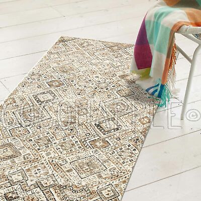 WYATT FADED DIAMOND BONE BEIGE TRIBAL FLOOR RUG RUNNER 80x400cm **FREE DELIVERY*