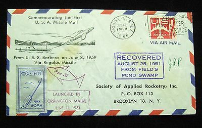 1961 Cover sent by Rocket Post(!) - Commemorating the First USA Missile Mail