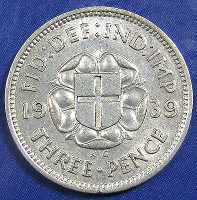 1939 3d George VI Rare silver Threepence in a nice high grade