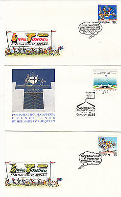 Australia Stamps First Day Covers FDC 1988 : 6 different unposted covers