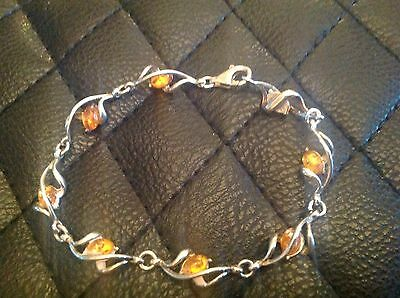 Solid Sterling Silver .925 and amber bracelet, stunning