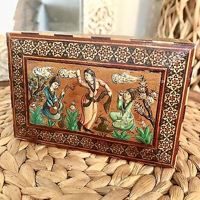 Vintage Persian Wood Khatam Kari Carved Trinket Box Marquetry Mosaic Dancer 5""
