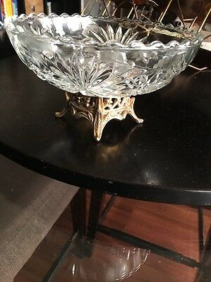Vintage Crystal Fruit/Display Bowl Brass Pedestal Base