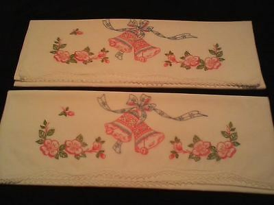 Vintage crocheted & embroidered standard pillow cases w/ intricate embroidery