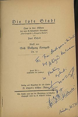Erich KORNGOLD (Composer): Die Tote Stadt - Signed Libretto with AMQS