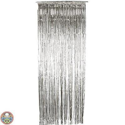 Smiffys Tg: One Size Silver Shimmer Curtain Nuovo