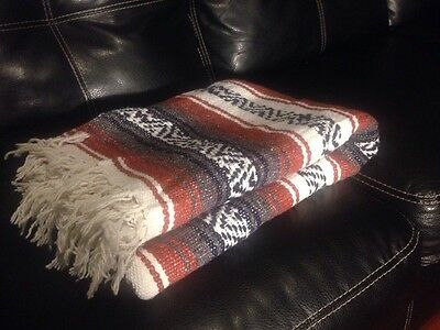 Mexican Hand woven Throw Blanket Made in Mexico Serape - Browns