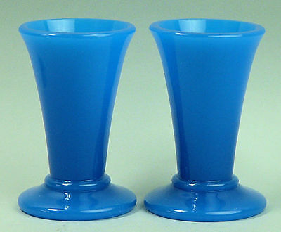 An Unusual Pair Of Antique Victorian Heavy Opaque Blue Glass Vases C.1860