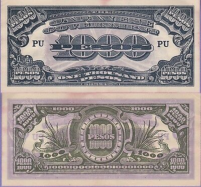 Philippines-Japanese 1000 Pesos Banknote 1945 About Uncirculated Cond, Cat#115