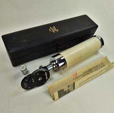 KEELER ophthalmoscope OPTICIANS LEATHER BOXED SET INSTRUMENTS EYE VINTAGE