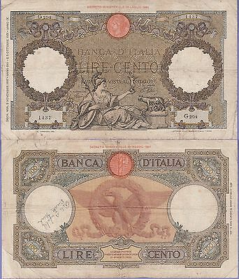Italy 100 Lire Banknote 2.11.1937 Choice Fine Condition Cat#55-B-1437
