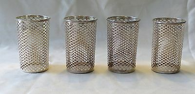 Set Of 4 Meridien  Co.sterling Silver Reticulated Mint Julep Cup Liners