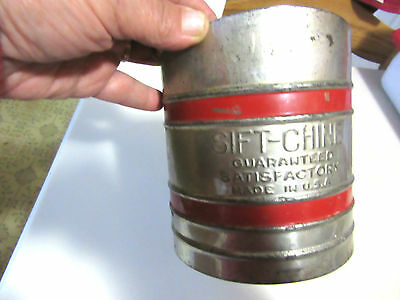 Vintage Tin Flour Sifter Sift-Chine Triple Screen ~ Red Bands ~ Country Kitchen