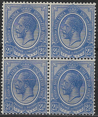 South Africa 1913 KGV SG7 2½d Block of 4 MLH