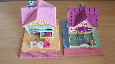 vintage polly pocket pollyville 1993 pink house & beach cafe