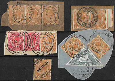 South Africa 1913 KGV Stamps on Paper with Postmarks Used