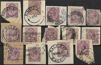 South Africa 1913 KGV SG6 2d Selective Group of Postmarks on Paper Used #3