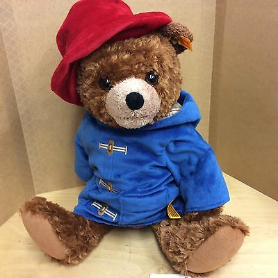 Steiff Paddington Plush Jointed Bear 15.5 Inches With Coat/ Hat. Yellow Label