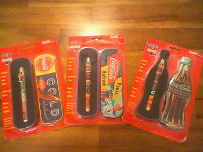 Three Coca-Cola Collectable Ceramic Roller Ball Pens, NIP, W/Gift Tin, 1996