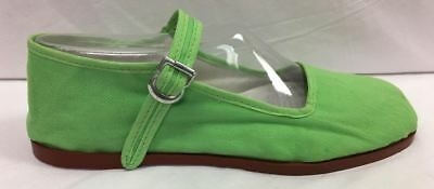 Discontinued Toddler/Girl's Apple Green Cotton Mary Jane Shoes with Buckle