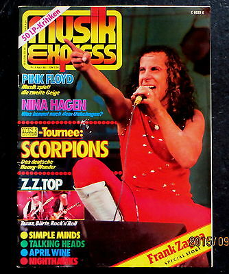 Musik Express 04/80 Cover: Klaus Meine, Pink Floyd, ZZ Top, Frank Zappa Story