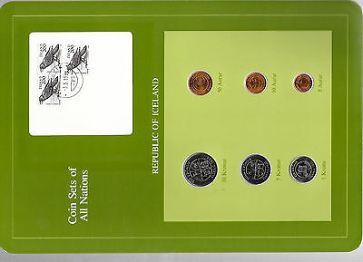 Coin Sets of All Nations Iceland w/card All 1981 but 1, 10 Kronur 1984