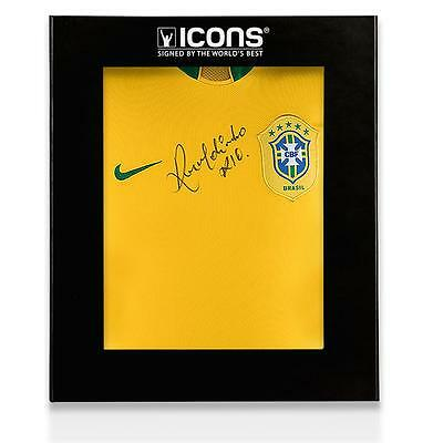 Ronaldinho Front Signed Brazil 2006 Home Shirt In Deluxe Packaging Autograph