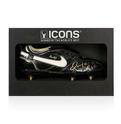 Ronaldinho Signed Black Nike Tiempo Ronaldinho Boot In Deluxe Packaging
