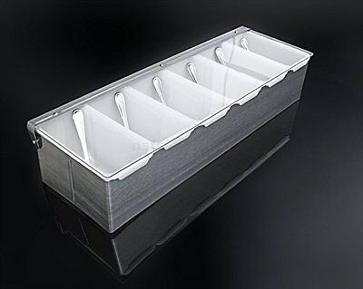 Condiment Dispenser 6 Compartments Chilled Server Caddy Food Tray Salad Bar NEW!
