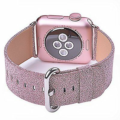 Apple Watch Band iWatch Replacement Leather Strap 38mm Pink Glitter For Women