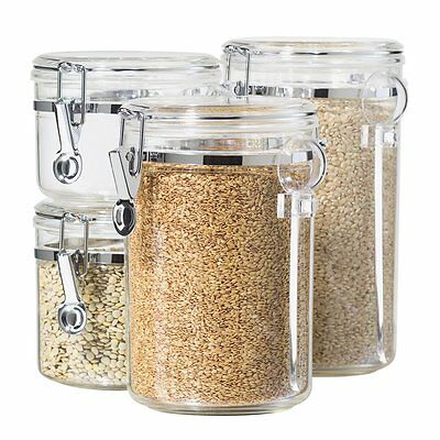 Canister Set Of 4 Acrylic Locking Kitchen Storage Jars Containers with Spoons