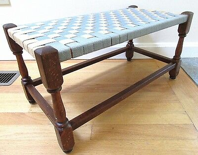Big Primitive Antique Foot Stool Bench Milking Farm Country Wood Patina Jacobean