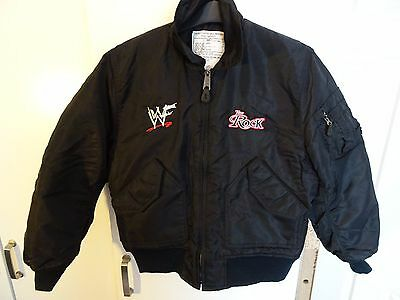 Mens Rare Vintage WWF 90s Wrestling The Rock Bomber Jacket VGC - Size Small