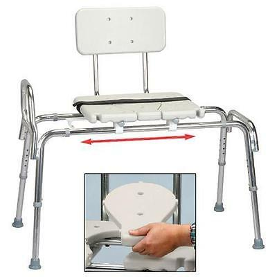 Snap-N-Save Sliding Transfer Bench 61311 w/ Cut-Out Seat Bath Shower Chair NEW
