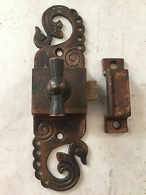 Rare Antique Cast Brass  Arts Craft Victorian Cabinet Cupboard Door Latch Lock
