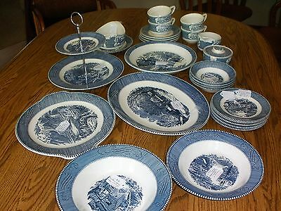 Royal Blue China Currier & Ives dishes/accessories 40 pieces vintage mint