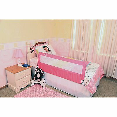 Extra Long Bed Rail One Side Safety Guard Frame Kids Crib Toddler Protector Pink